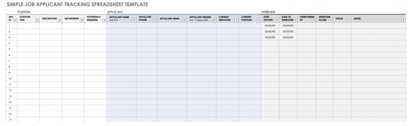 Simple Job Application tracking template