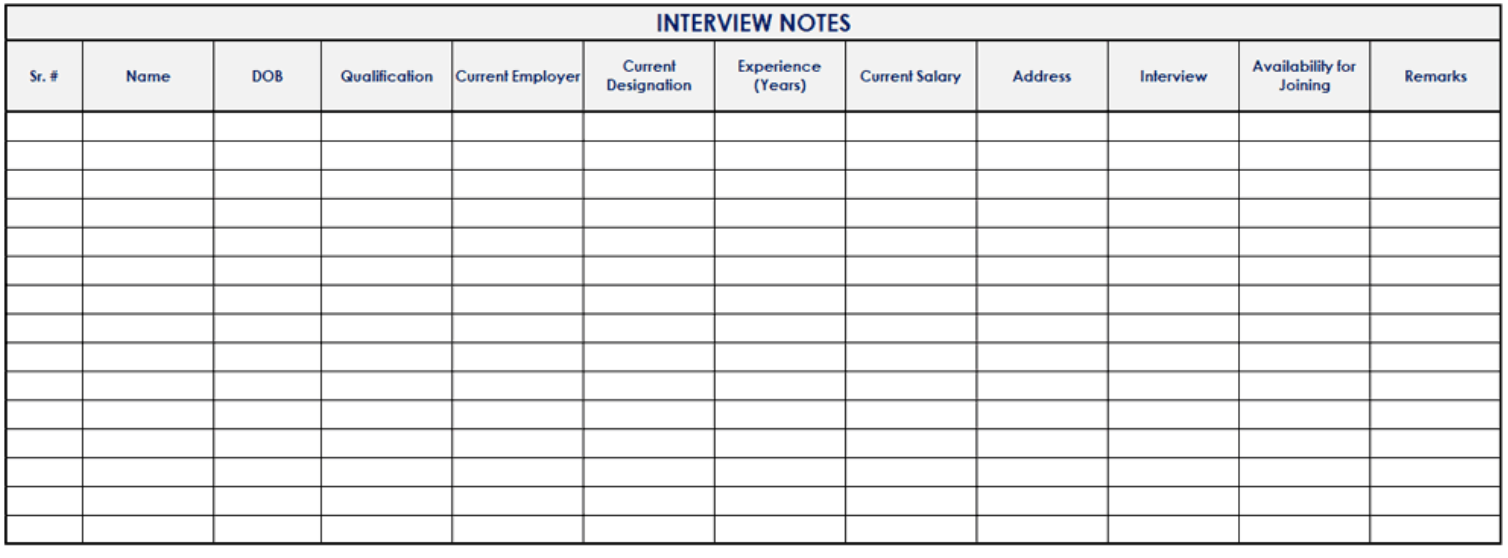 Interview template