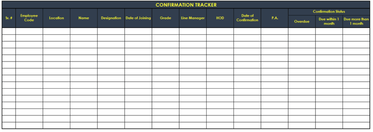 Confirmation tracker template
